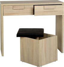 Cambourne 2 Drawer Dressing Table Set in Sonoma Oak Effect Veneer/Black PU
