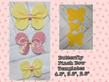 "🎀 2"", 3"", 4"" Butterfly Pinch Bow Plastic Templates x3  🎀"