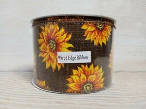 """NEW! Brown SUNFLOWER Ribbon 2.5"""" x 3 YD Wired Edge Farmhouse COUNTRY Burlap-Like"""