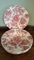 "Vintage JOHNSON BROS ENGLISH CHIPPENDALE Red/Pink - 8"" Rimmed Soup/Salad Bowl"