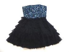 Steppin Out Jr Womens 9/10 Black Fluffy Blue Sequin Strapless Party Dress New