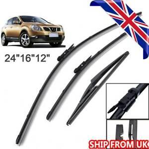 For Nissan Qashqai J10 2007-2013 Front Rear Windscreen Flat Wiper Blades Kit Set