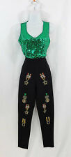 1991 Iceberg Gilmar Luxury Couture Wmns Black Hi-Waist Pants Medals 44/M Italy