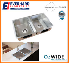 Everhard Squareline Double Kitchen Sink Under Mount or Drop In Stainless Steel
