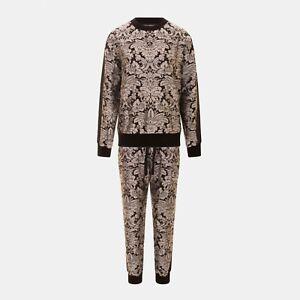 Dolce Gabbana Herald Jacquard Sweatshirt & Track Pants In Silver Black RRP £1700