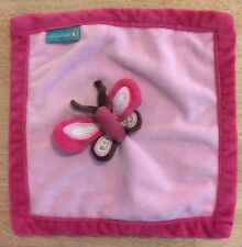 Tiddliwinks Butterfly Plush Pink Brown Lovey Security Baby Blanket Velour