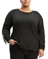 Levi's Women's Trendy Plus Size Reese Fringe-Trim Top Black Size 2 Extra Large