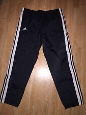 Vintage Adidas Team Track Pants Black 3 Stripe Nylon Zip Cuff Men Sz S