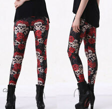 Skull & Rose Woman's Halloween Stretchy Gothic Dance Yoga Work Out Gym Leggings