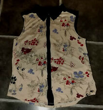 "LADIES M COOPERATIVE BEIGE BLACK FLORAL SLEEVELESS BLOUSE TOP CHEST 36"" 92cm"