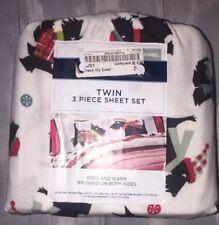 Brand NEW Flannel Cotton Sheet Set Dog Cannon ~ Twin Sheet Scottie 3pc Bedding