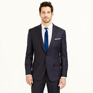 J. CREW Heather Navy CROSBY SUIT JACKET IN ITALIAN WORSTED WOOL Double Vent 42L