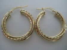 Gold hoop earrings 9 carat yellow diamond cut