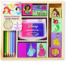 Disney Princess Wooden Stamp Set Kids Craft Colored Pencils Stamp Pad Girls New