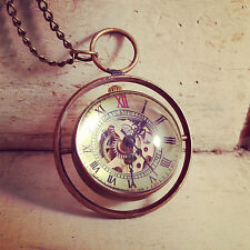 LARGE Rotating Orb Watch Time Turner WIND-UP Gear Round Bubble Pocket Watch