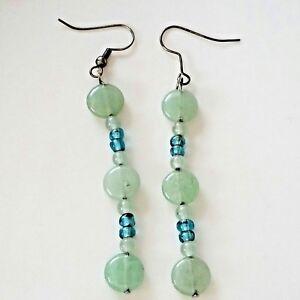 "VTG Earrings Blue Green Stone Glass 3"" Drop Dangle Beaded Costume Fashion W70"