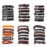 Fashion 6pcs/set Vintage Punk Leather Bracelet Wristband Bangle Men Jewelry Gift