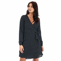 Womens Brave Soul Pinstripe Wrap Dress In Navy