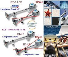 TROMBA MARINA NAUTICA INOX Cm.47 ELETTROMAGNETICA 12V 118dB BARCA e CAMPER EM1