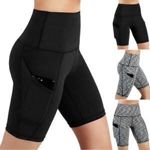 Womens Push Up Yoga Shorts High Waist Biker Pants Fitness  Sports With Pockets