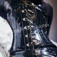 100% Latex Rubber Black Tight Corset Woman Waist clip Suit Size XXS-XXL