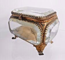 Vintage French Ormolu Bevel Glass Jewellery/Trinket Box Casket