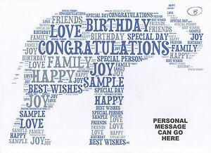 ELEPHANT A4 PRINT - UNIQUE PERSONALISED WORD ART GIFT - BIRTHDAY/XMAS GIFT (B)