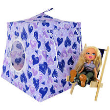 Purple, heart print Toy Play Pop Up Doll Tent, 2 Sleeping Bags, handmade