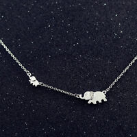 925 Sterling Silver Cubic Zirconia Pave Auspicious Lucky Cute Elephant Necklace