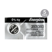Energizer 357/303 (SR44W, SR44SW, EPX76) Silver Oxide Watch Battery (5 Pack)