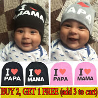 I Love PAPA MAMA Hats Boy Girl Newborn Infant Baby Lovely Cotton Slouchy Beanie