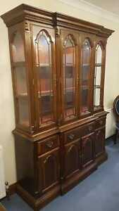 Mahogany dining room suite - table, cabinet, 8 chairs, blue uphostery, cover