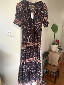 Free People dress black combo Maxi dress S/L New with tags