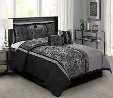 Queen Size 7pcs Comforter Set Bed Gray Black Silver Asian Scroll Floral Striped