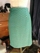 H&M Emerald Green Black Polka Dot Pencil Wiggle Skirt 50s Rockabilly Vintage