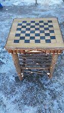 Log Furniture Rustic Cedar and Birch Bark Checker Board Chess Twig End Table