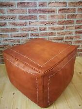 Leather Square Moroccan Foot stool Stitched leather square Ottoman Hassock