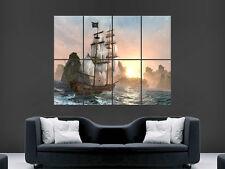 Bateau pirate poster sea waves sunset wall art photo imprimé grand énorme