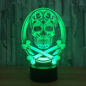 Skull 3D LED Night Light Touch Switch Table Desk Lamp Room Toy Gift birthday RGB