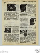 1932 PAPER AD Burton Rogers Jewell Radio Tube Testers Checkers Set Analyzers