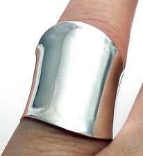 925 Sterling Silver WIDE Open Cylinder Cigar Band Wrap Ring Polished Shiny Sz 9