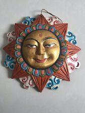 "Vintage 🎭 Wood Sun MASK buddhism Tibetan Buddha face Wall Hanging 10"" Nepal USA"