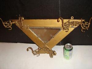 Antique Hanging Metal Mirror Hat Rack Cap Holder Hall Tree Hooks Orig. Glass