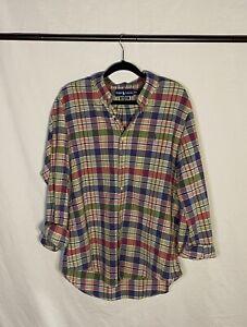 vintage ralph lauren polo rainbow plaid flannel button up - size XL