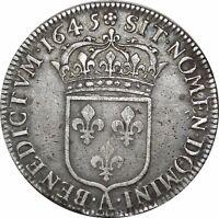 O532 RARE !! Louis XIV ½ écu à la mèche courte 1645 A Paris rose argent ->FO