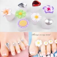 8 Pcs New Crystal Pearl Waterdrop Flower Toe Silicone Separator Pedicure Tool