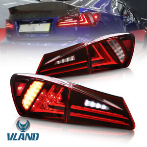 LED Tail Lights For Lexus IS250 IS350 ISF 2006-2013 Red Lens Rear Lamp Assembly