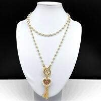 Vintage Faux Pearl Beaded Gold Tone Chain Necklace Skeleton Key Lariat Pendant
