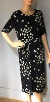 Debenhams Betty Jackson Pencil Dress Black Green Floral Print Uk Size 10 New