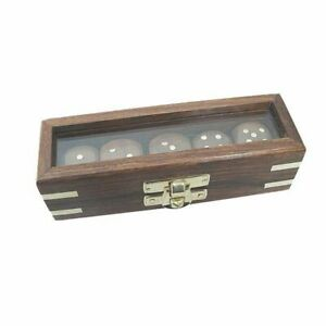 Dice Game, Dice IN Glass Cover Box Made from Wood With Brass Inlay